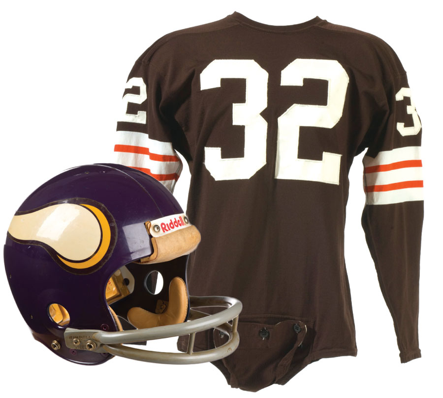 Paul Krause's vikings helmet from the 1970s, jim brown's jersey, minnesota sports, vikings, things to do, museums, exhibitions