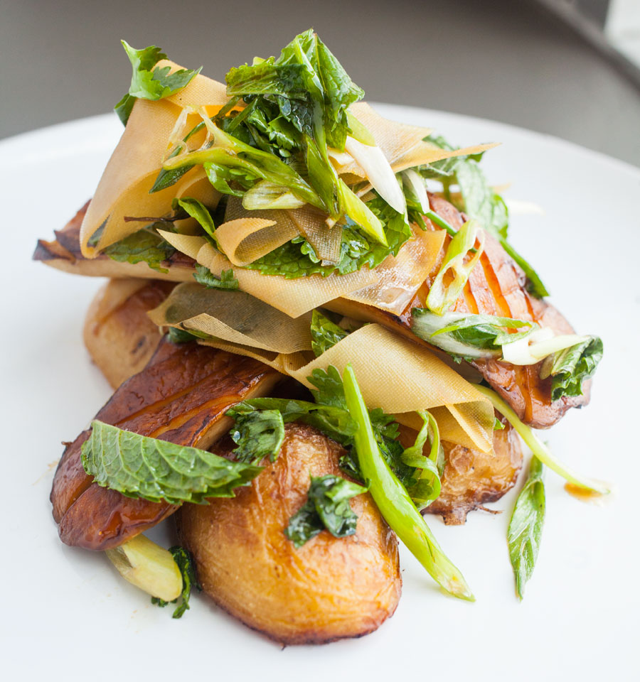 king trumpet mushrooms, crudo, xavi restaurant, restaurant rumble, jason and joy, food