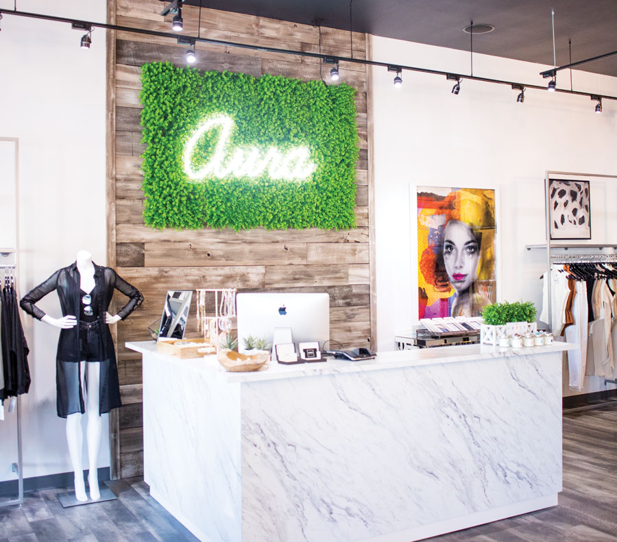 The checkout counter inside Aura Boutique in Uptown Minneapolis.