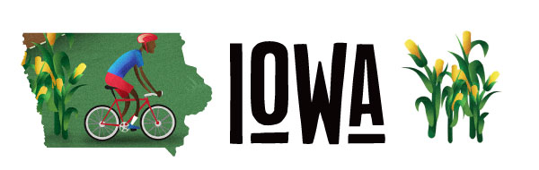 An illustration of Iowa with a cyclist and cornstalks.