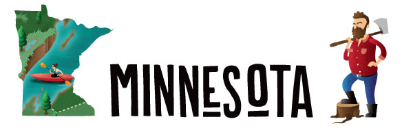 "An illustration of the word ""Minnesota"" along with the state."