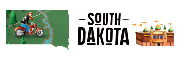 An illustration of South Dakota featuring a motorcyclist.