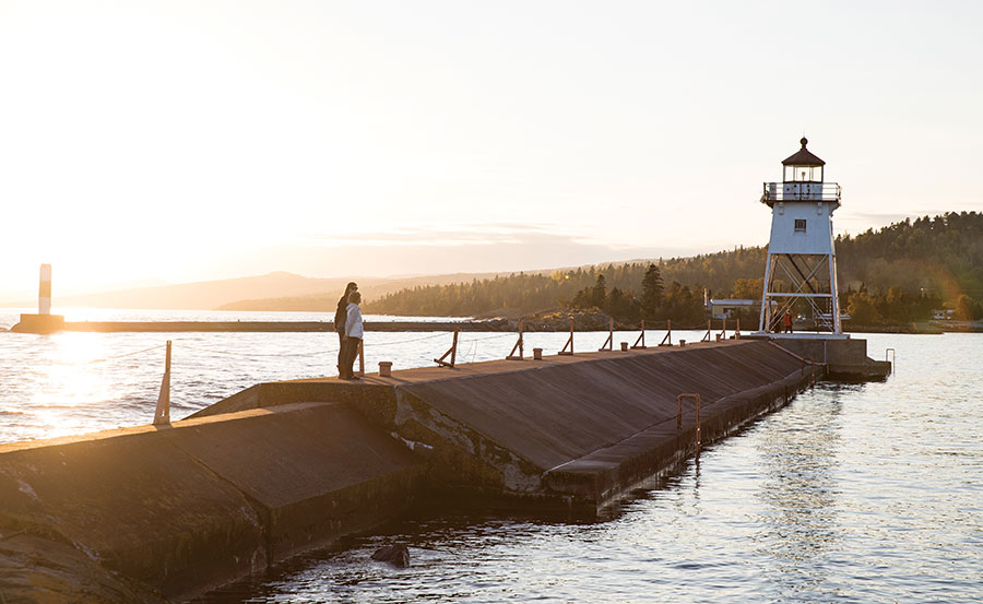Grand Marais lighthouse and harbor.