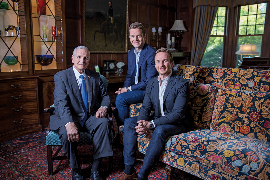 A portrait of Mark, Eric and Andrew Dayton sitting in a room at the Governor's Mansion.