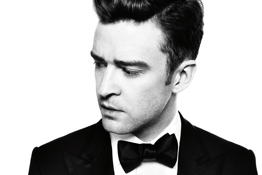 A portrait of Justin Timberlake in a suit.