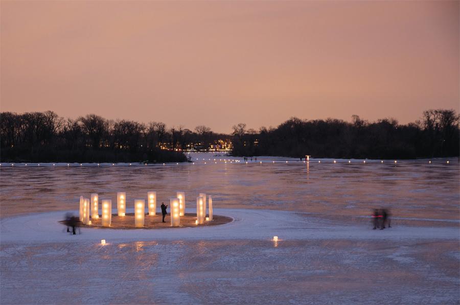 A lantern display on a frozen lake.
