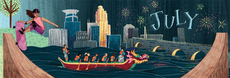 An illustration of a dragon boat floating on the Mississippi River with the Minneapolis skyline in the background.