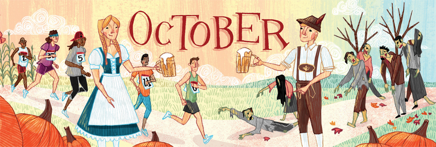 An illustration of people running and on the left side, two people sharing a beer in the middle and zombies on the right.