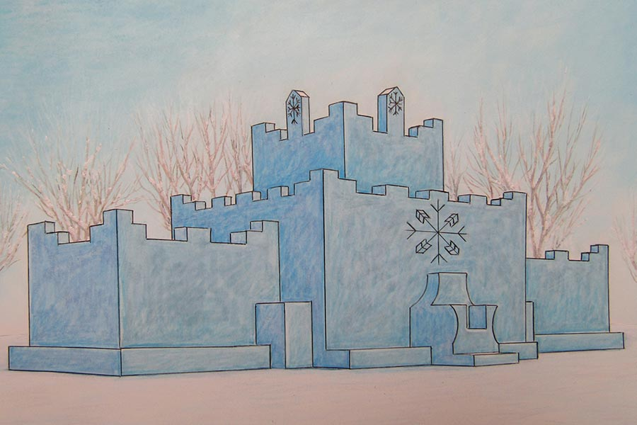 An illustration of the Detroit Lakes' Ice Castle.
