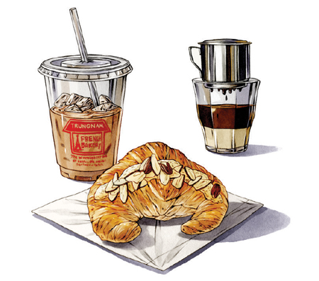 An illustration of a croissant and coffee at Trung Nam French Bakery.