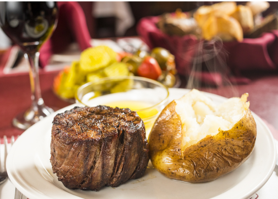A steak and baked potato from Mancini's.