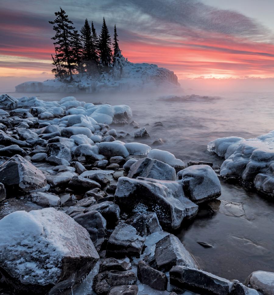 A small island on Lake Superior at sunrise.