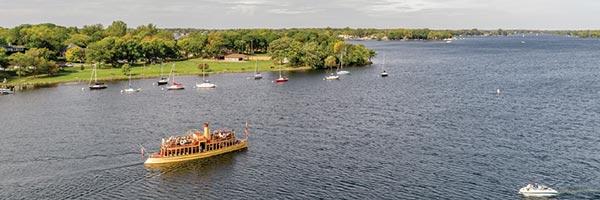 Boats on a lake in Wayzata.