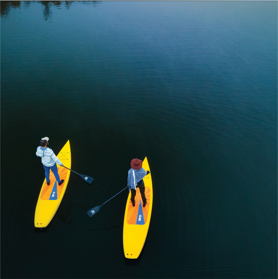 Two people paddleboarding.
