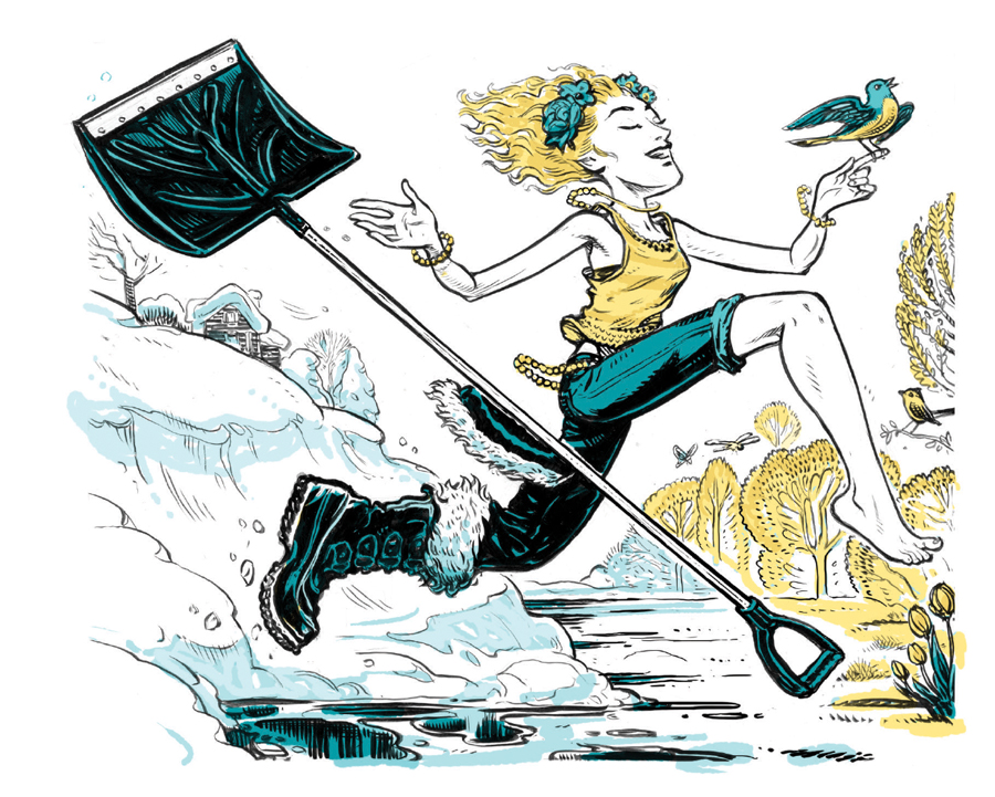 An illustration of winter transitioning to spring, and a girl transitioning from shoveling to running.