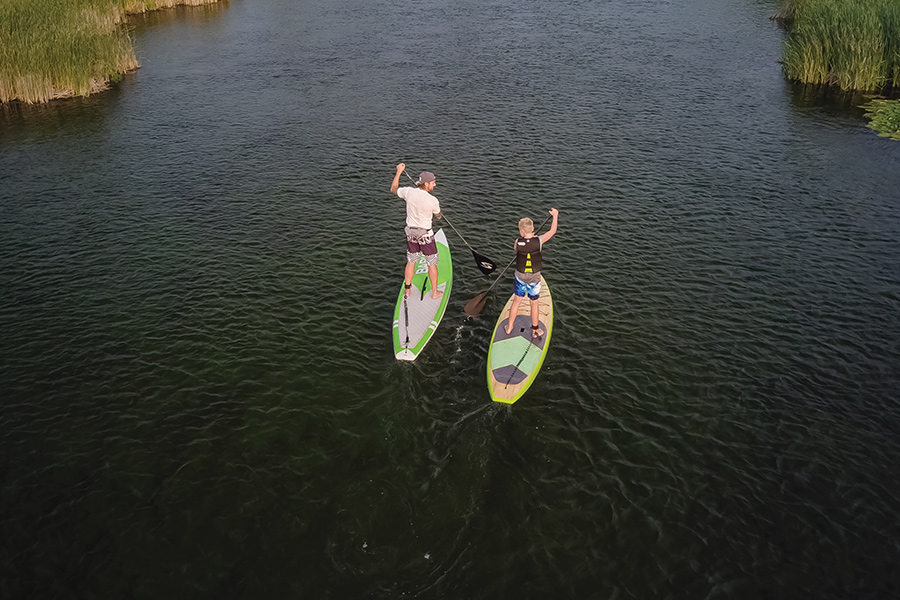 Two people paddleboarding on a creek in Alexandria.