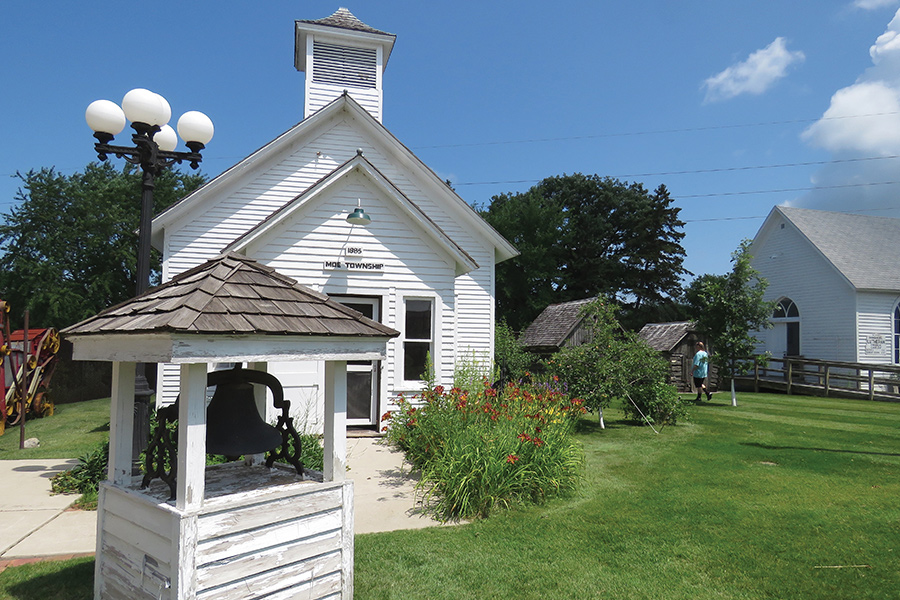 The exterior of the Moe Township schoolhouse at Runestone Museum in Alexandria, Minnesota.