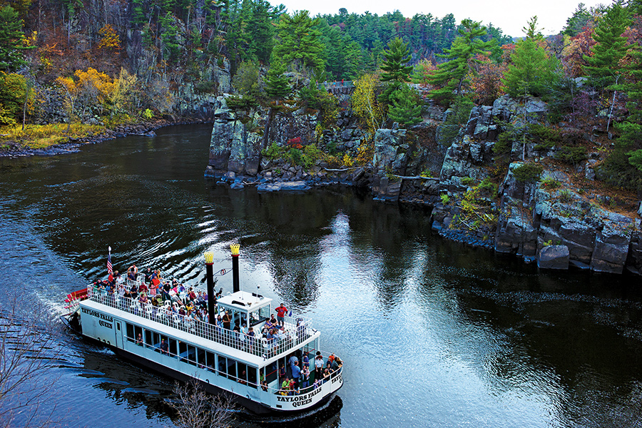 A boat cruise on the St. Croix River in Taylors Falls, Minnesota.