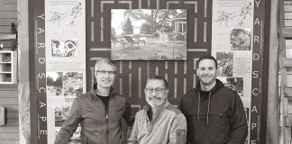 Photo of Clayton Johnson, designer; David Kopfmann, president and designer; Lincoln Danforth, designer; of Yardscapes