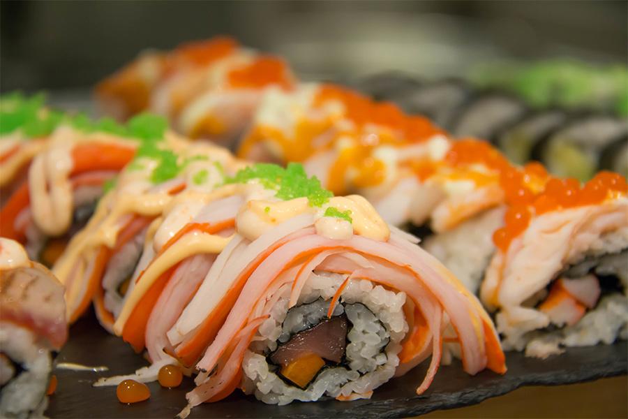 Rolls of sushi.