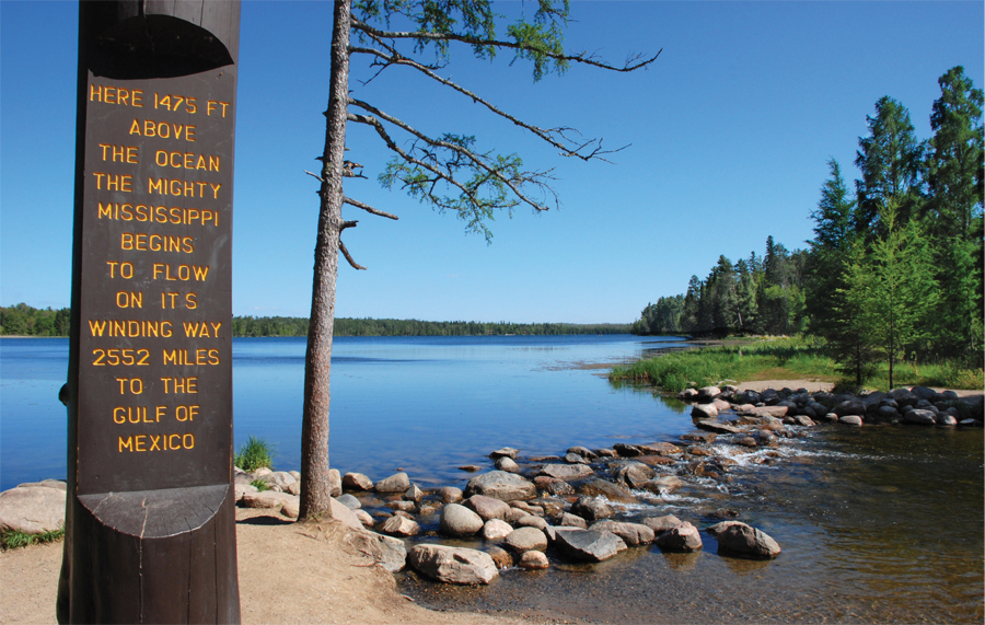 The Mississippi headwaters at Lake Itasca.