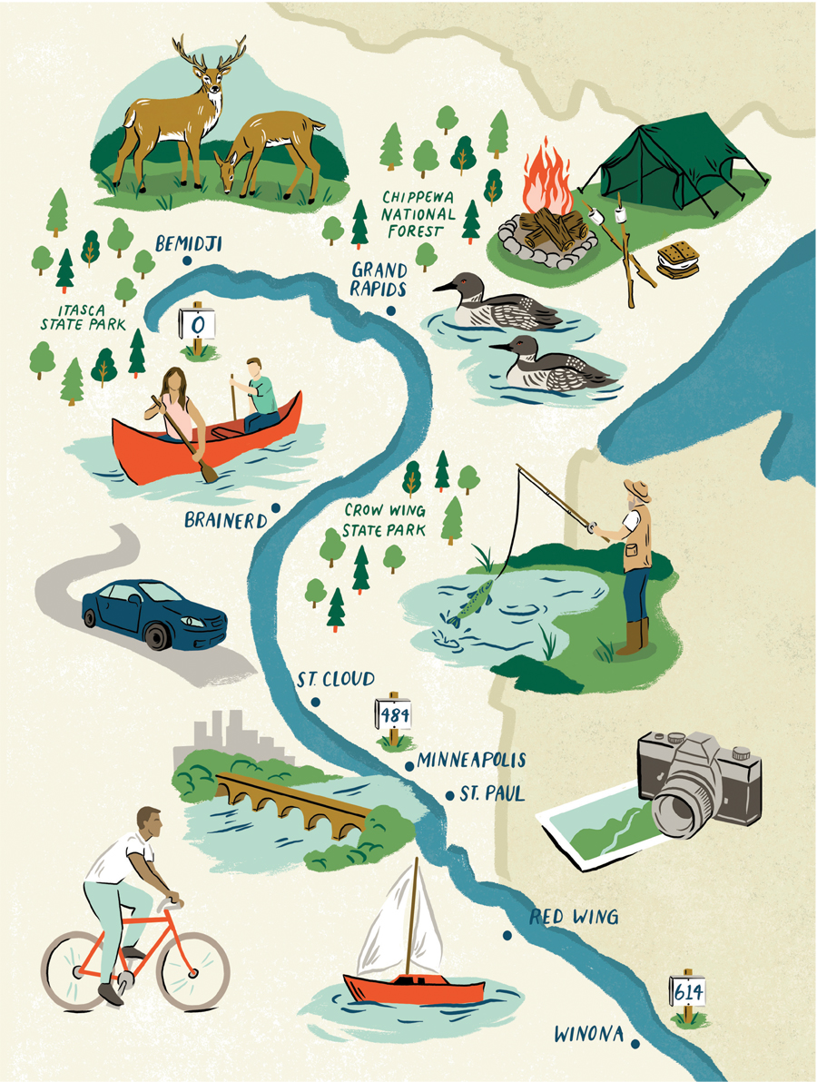 An illustration of the Mississippi River flowing through Minnesota.