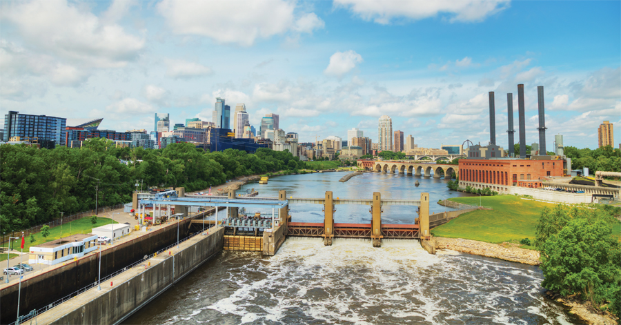 The Mississippi River flowing through Minneapolis.