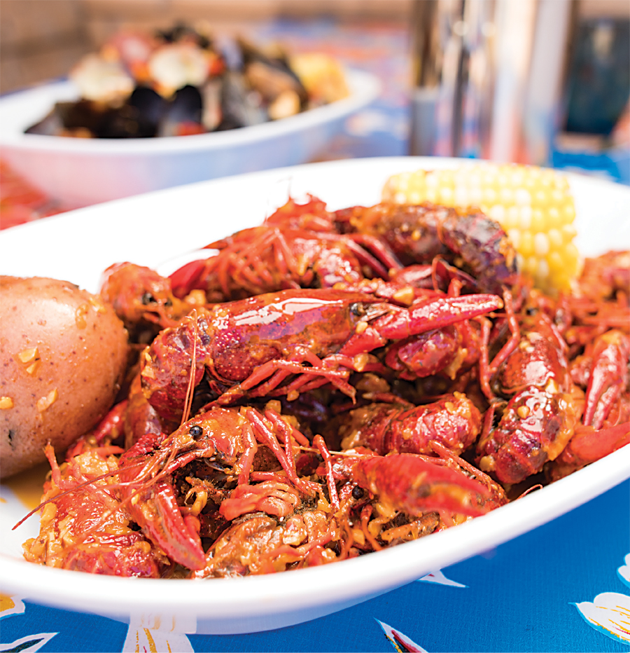 Seafood boil with crawfish at Grand Catch in St. Paul, Minnesota.