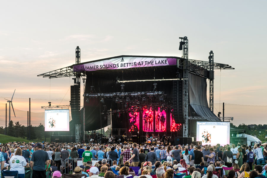 An outdoor concert at Mystic Lake Amphitheater.