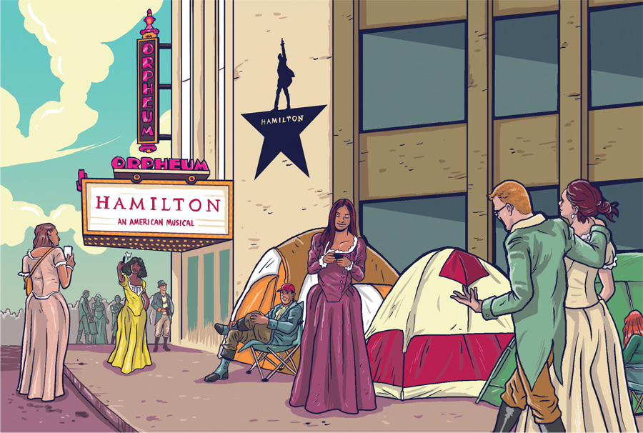 An illustration of people camping outside the Orpheum waiting to get Hamilton tickets.