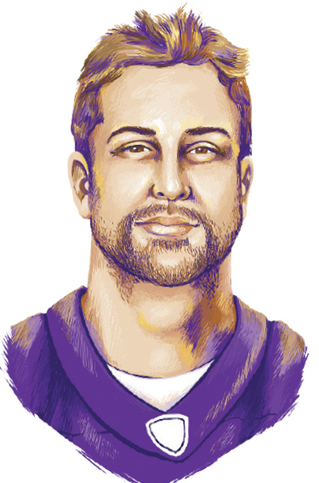 A portrait illustration of Adam Thielen.