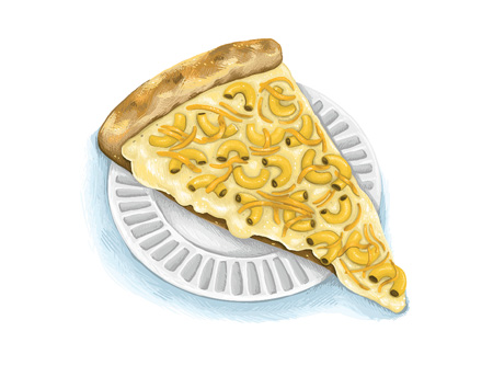An illustration of the macaroni and cheese pizza from Mesa Pizza.