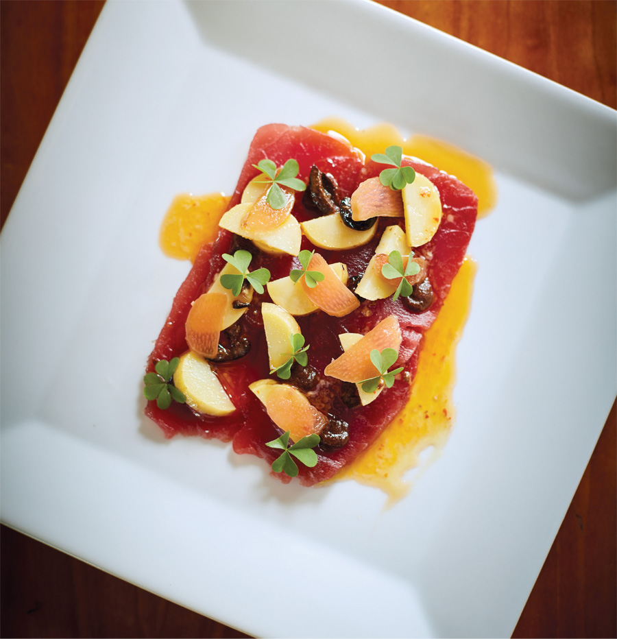A plate of tuna crudo from the Bungalow Club in Minneapolis.