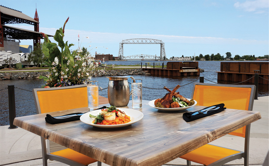 The patio at Pier B Resort overlooking Lake Superior in Duluth, Minnesota.