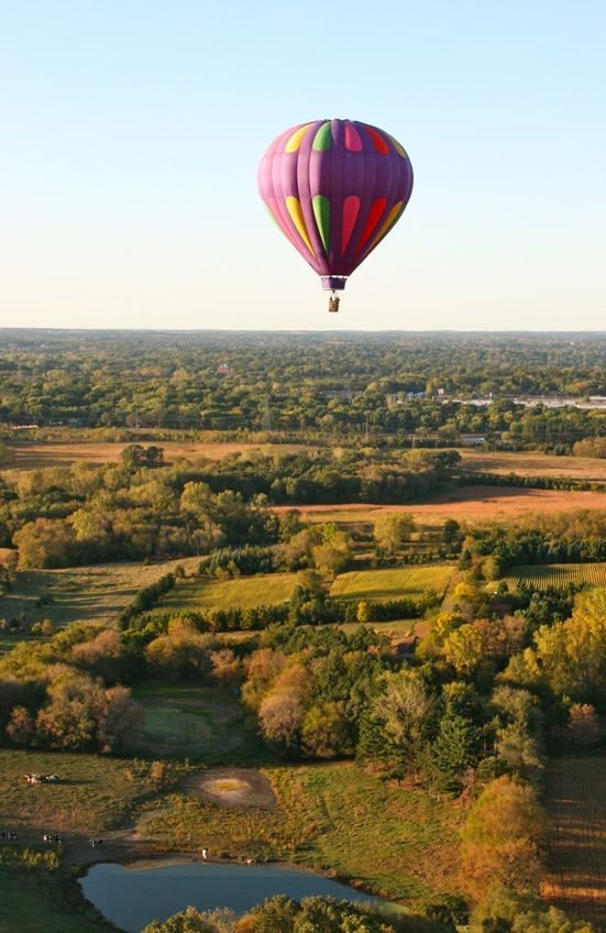 A lone balloon from Aamodt's Balloons over the St. Croix Valley. Courtesy Aamodt's Balloons.