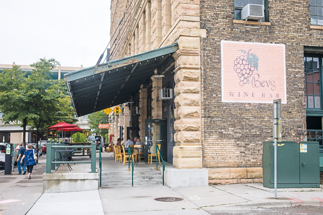 The exterior of Bev's Wine Bar.