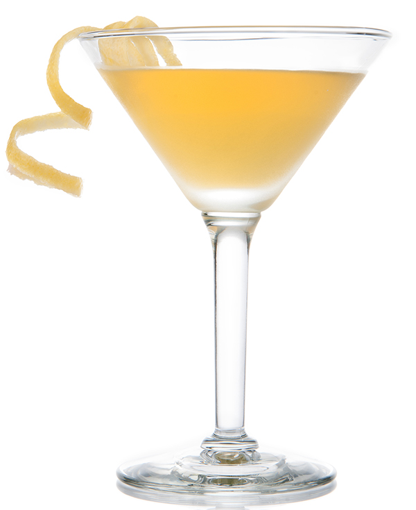 A corpse reviver with a lemon zest twist in a martini glass.