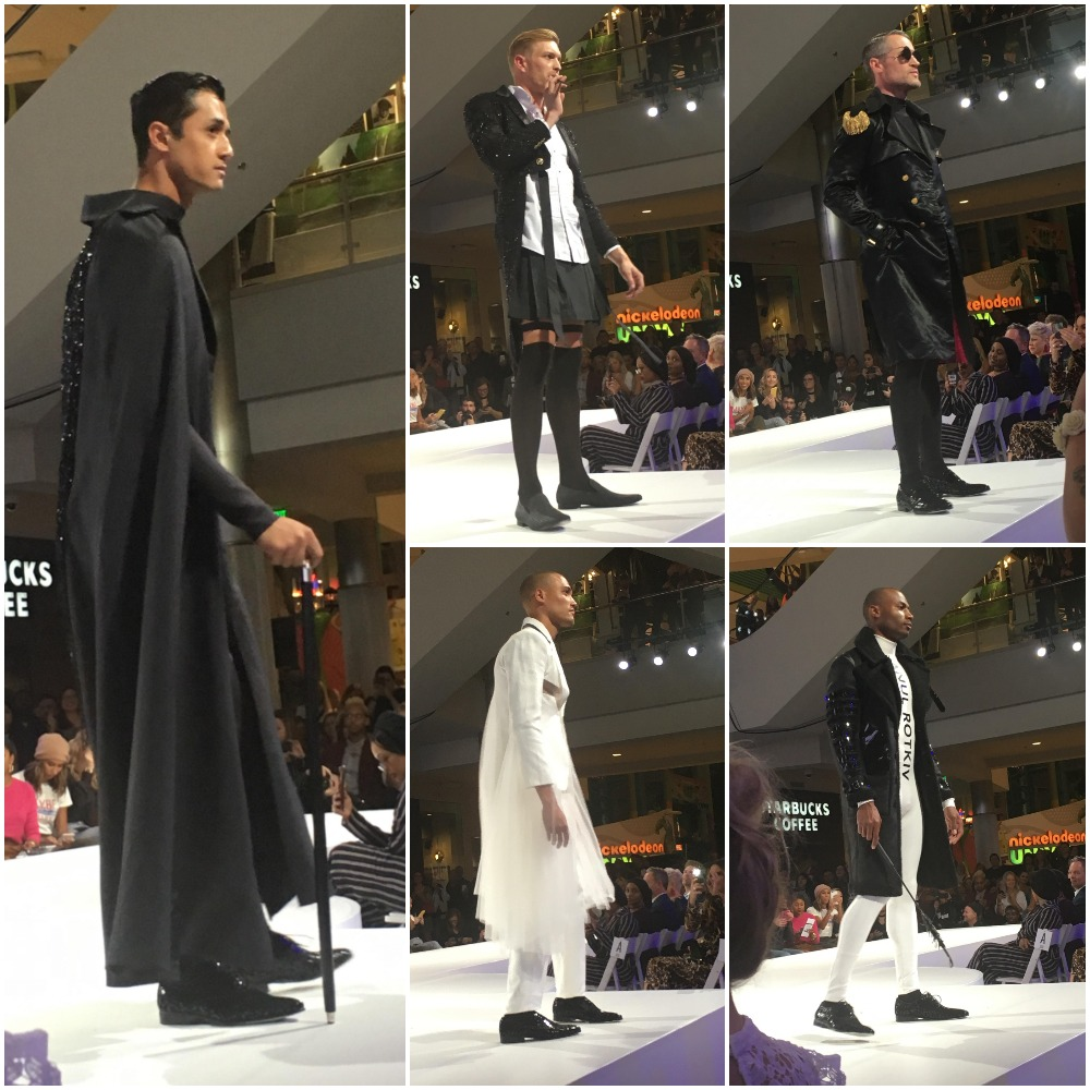 With a tinge of Victorian Gothic vibes, Viktor Luna saturated his men in black and white at Mall of America's Curated Style fashion show.