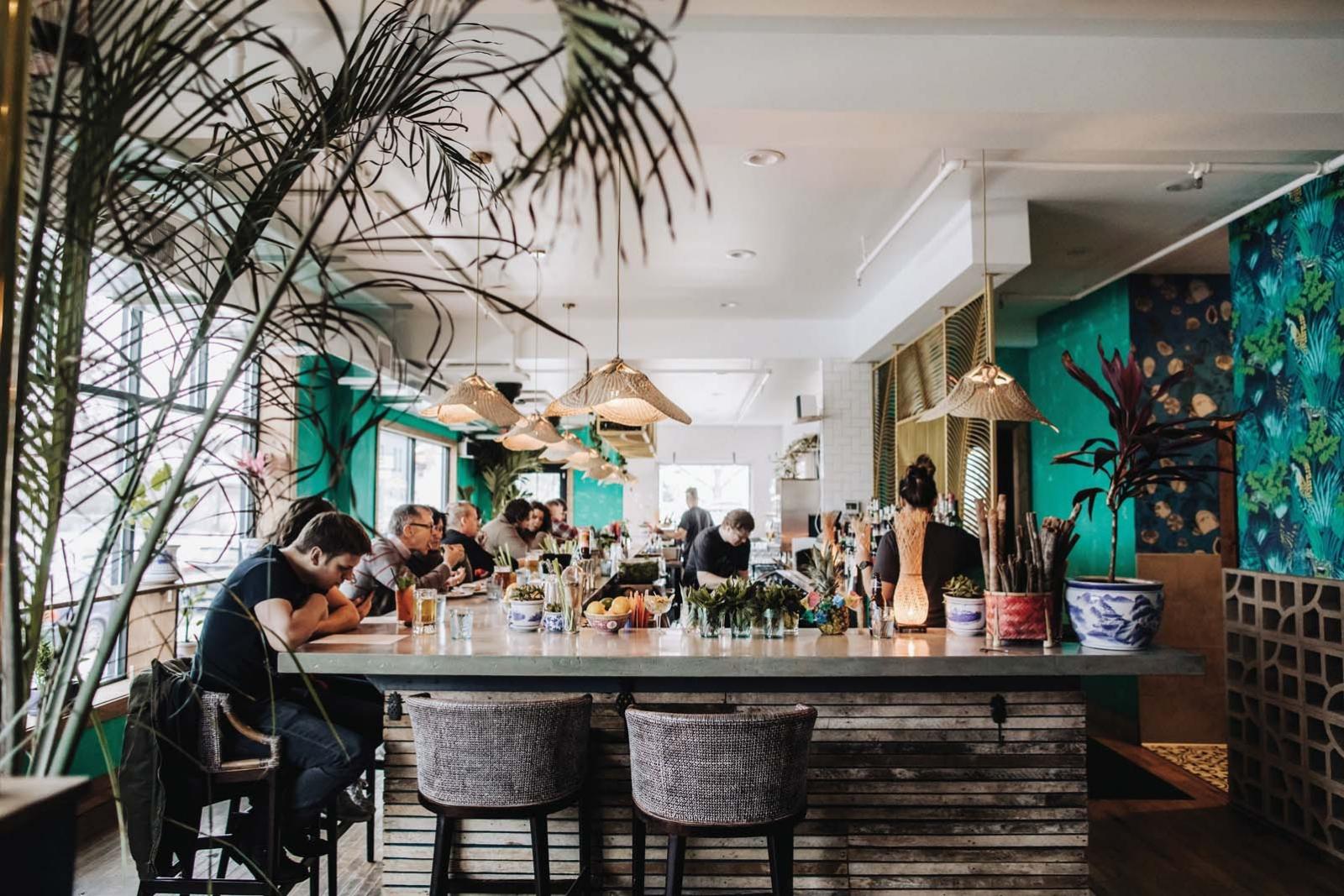 The dining room and bar at Hai Hai.