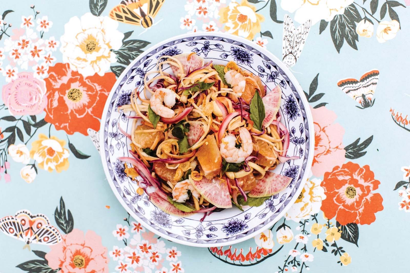 A salad with shrimp and greens at Hai Hai.