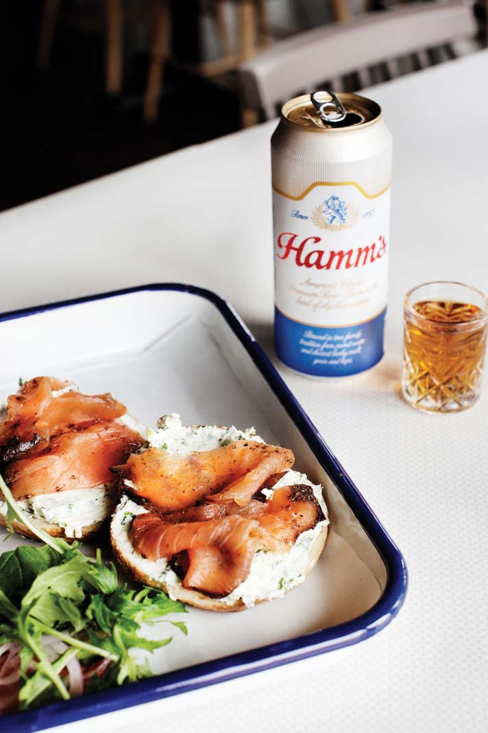 The Everything bagel, horseradish schmear, with nova lox and beer at Meyvn.