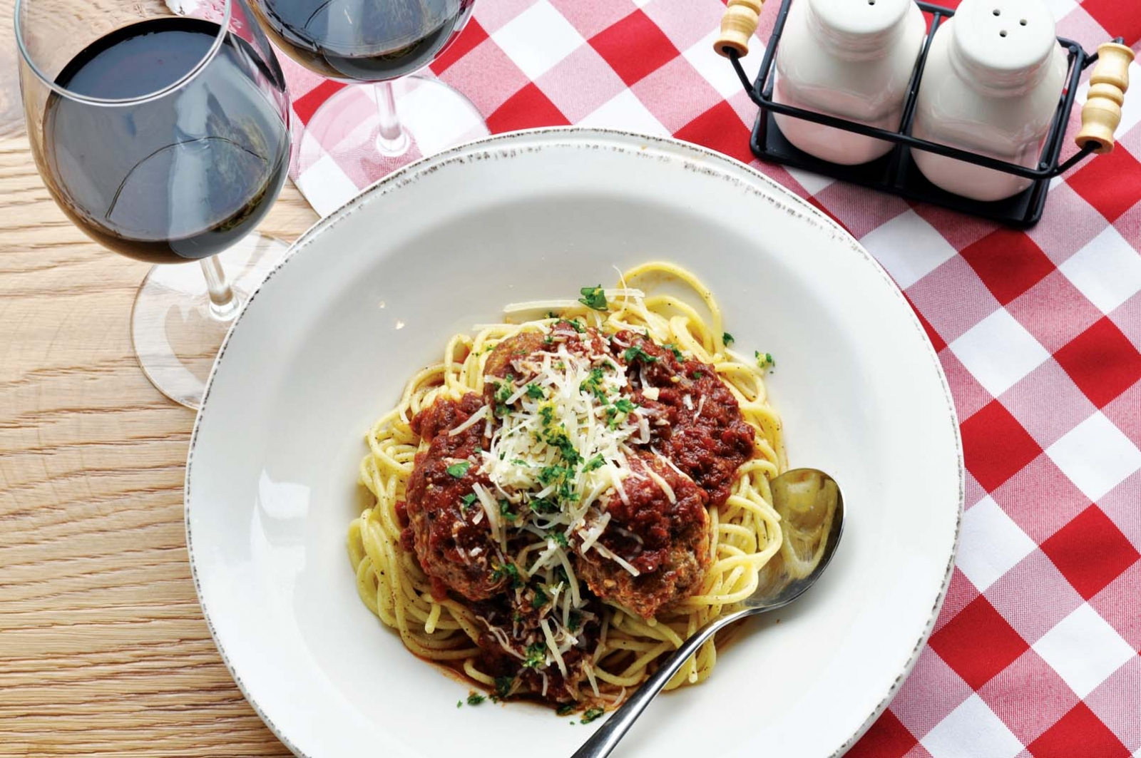 A plate of spaghetti and meatballs from Red Sauce Rebellion.