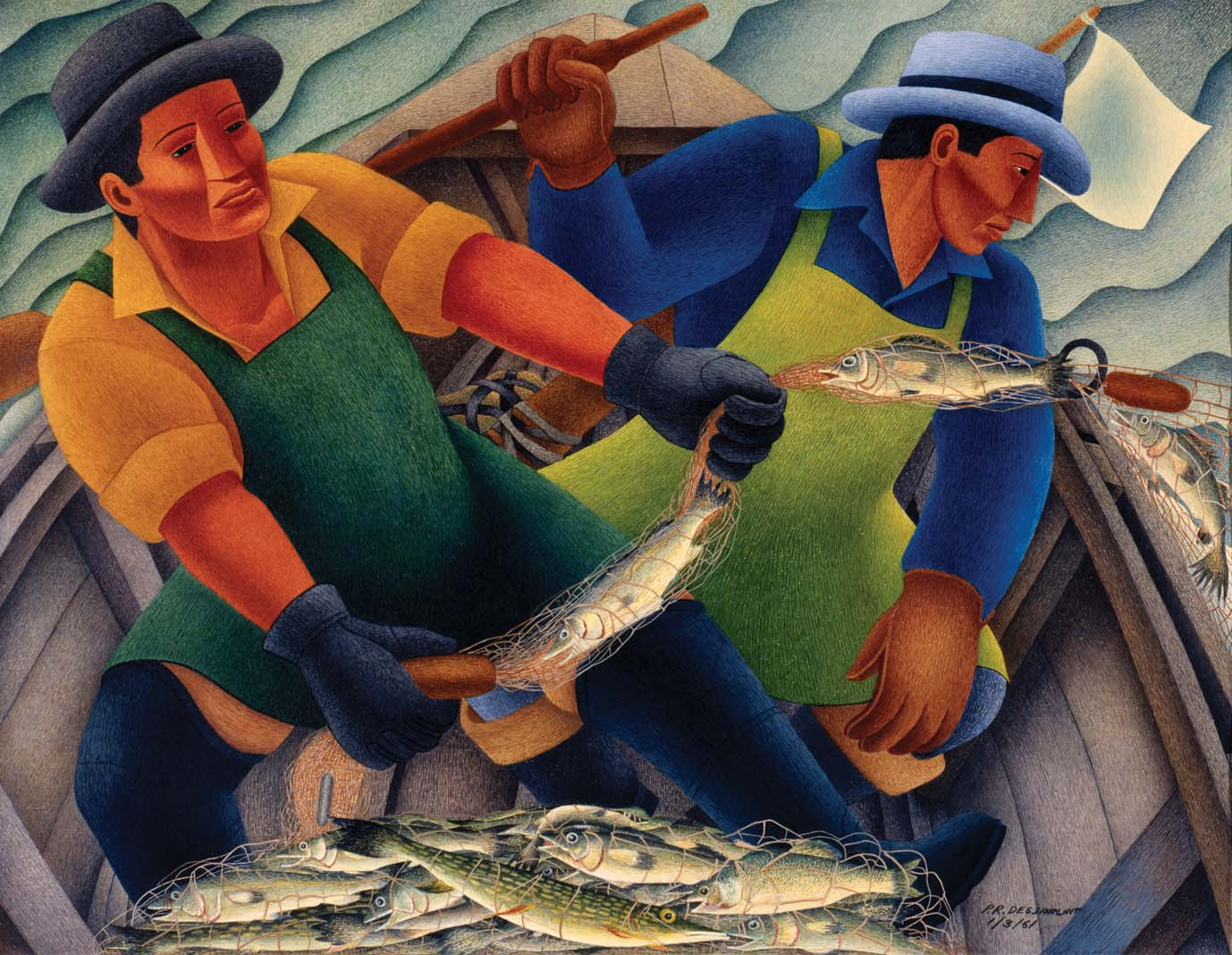A painting of two fishermen hauling in fish in nets.