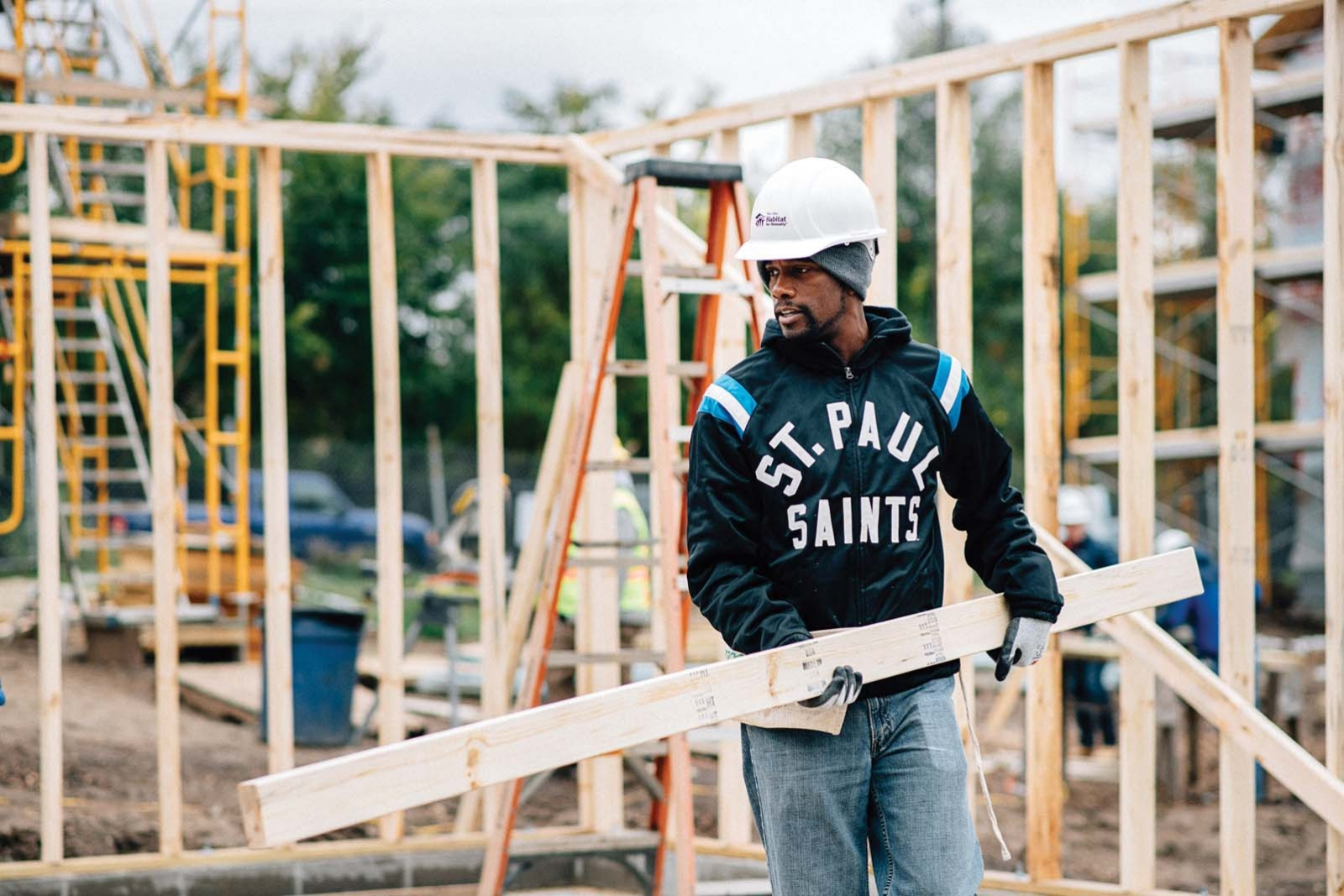 St. Paul mayoy Melvin Carter helping build a home for Habitat for Humanity.