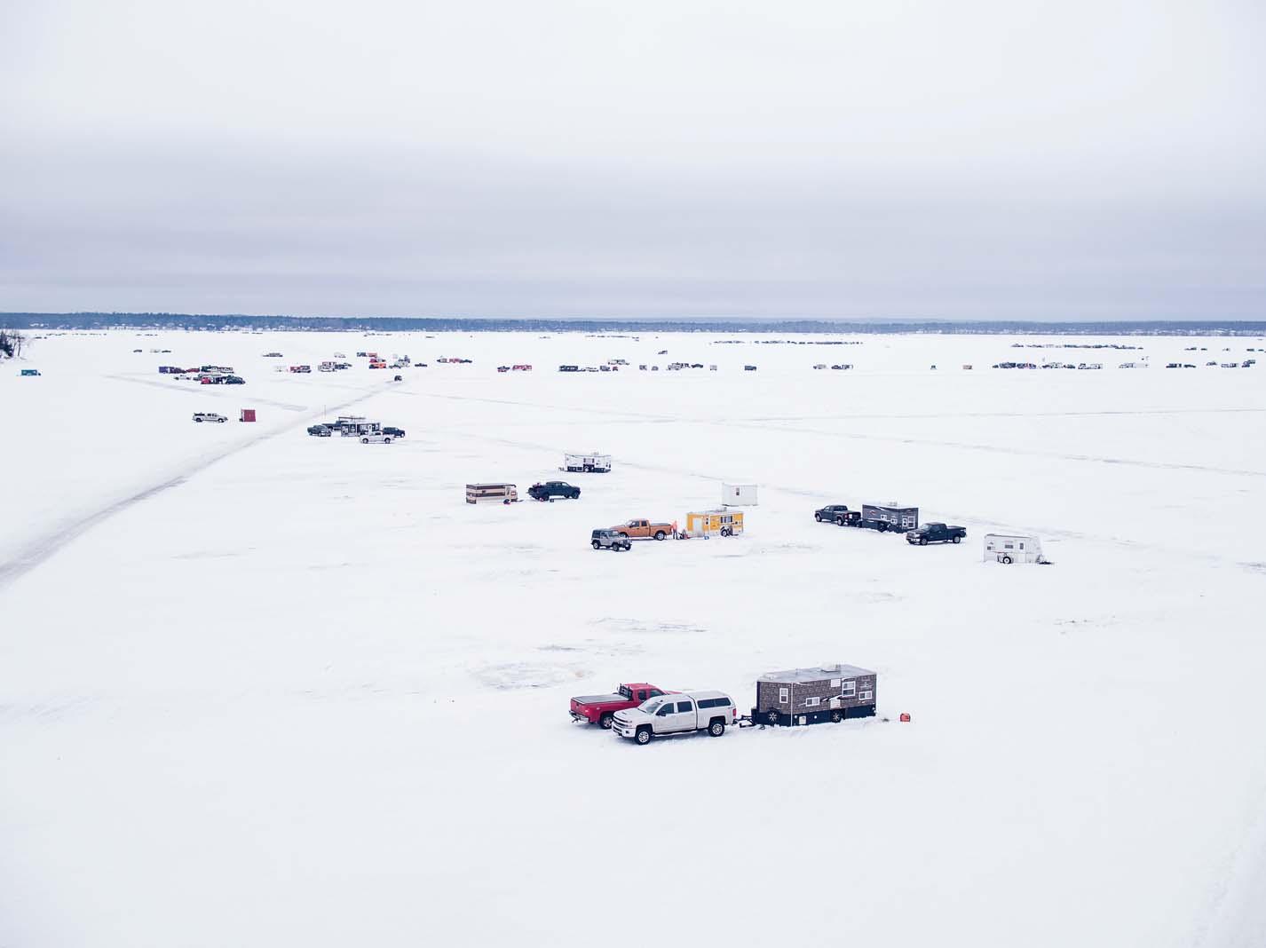 Ice fishing on Gull Lake.