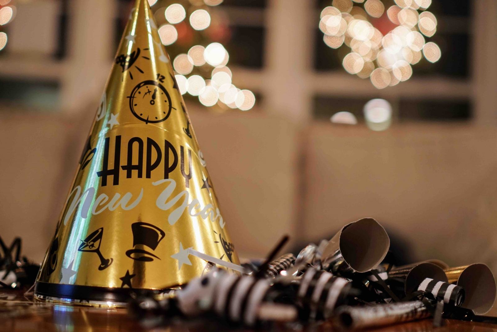 A New Year's Eve party hat with confetti! Photo from Fotolia/Brad.