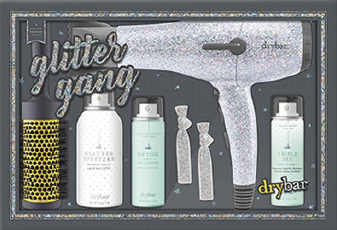The Glitter Gang set from Drybar features a very sparkly silver blow dryer. Courtesy Drybar.
