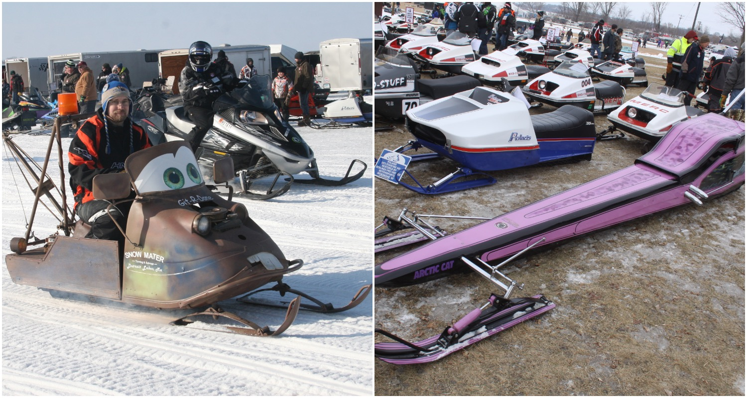 """Photos from the 2018 Ride-In include a Mater-styled snowmobile (from """"Cars"""") and a long purple Arctic Cat."""