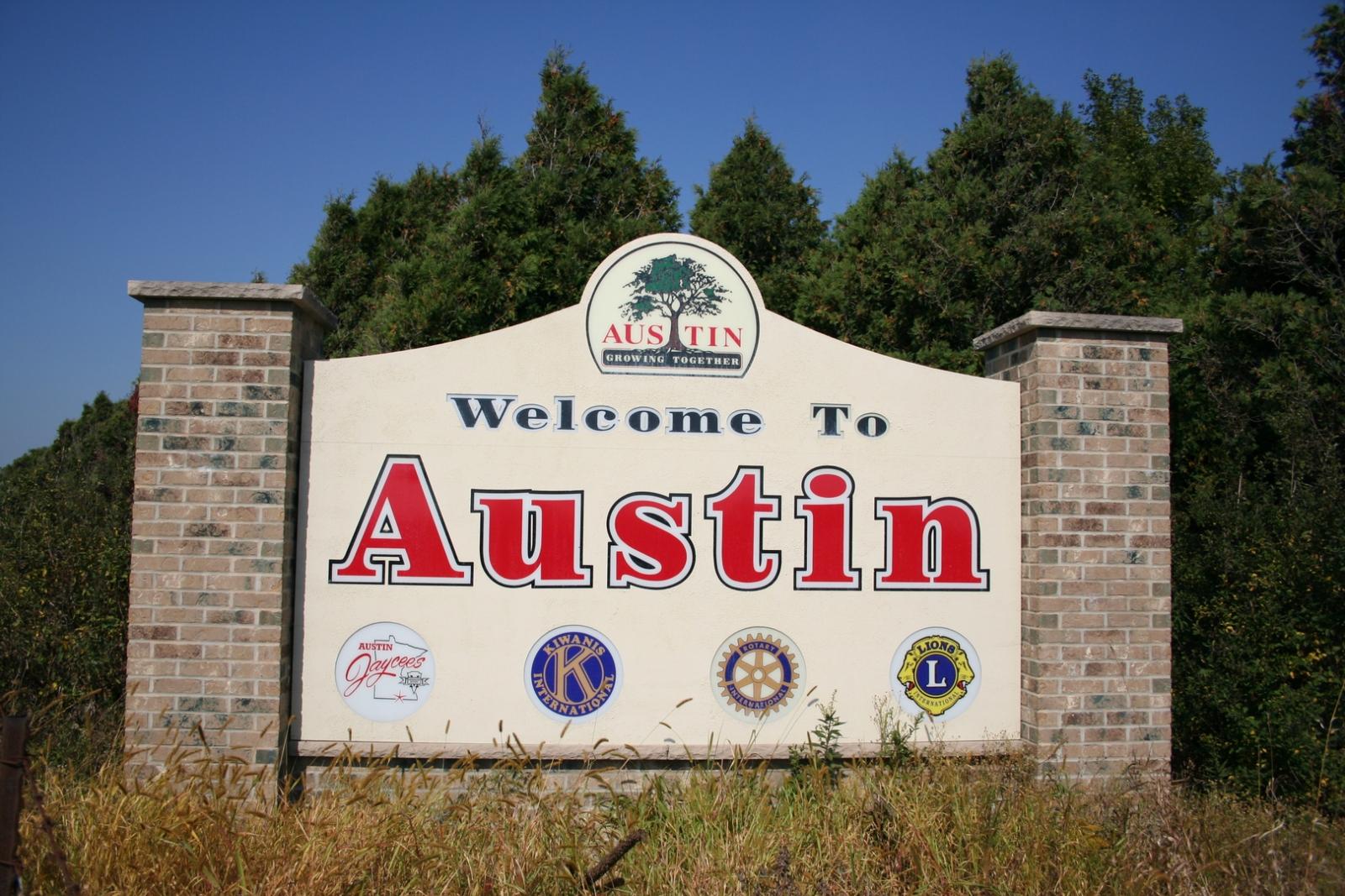 The Welcome Sign to Austin, Minnesota. Courtesy Discover Austin Minnesota.