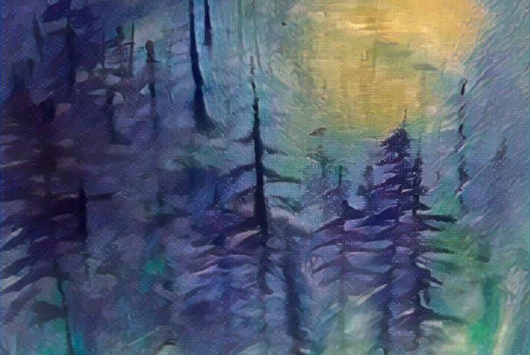 An indigo-tinted painting of evergreens.